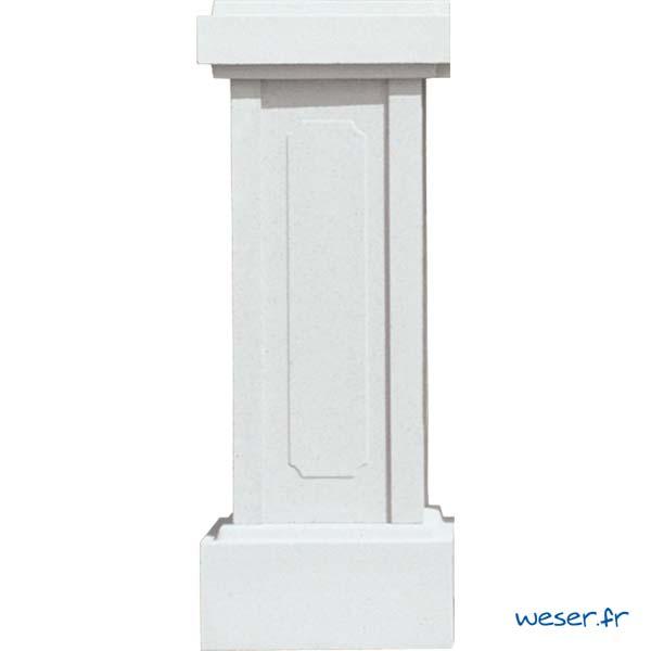 Trumeau avec embase pour balustres hauteur 61 et 66 cm et chapeau d'extrémité WESER - Albâtre (Blanc)