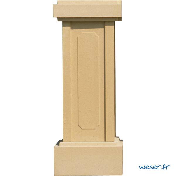 Trumeau avec embase pour balustres hauteur 61 et 66 cm et chapeau d'extrémité WESER - Sahara (Jaune Ton pierre)