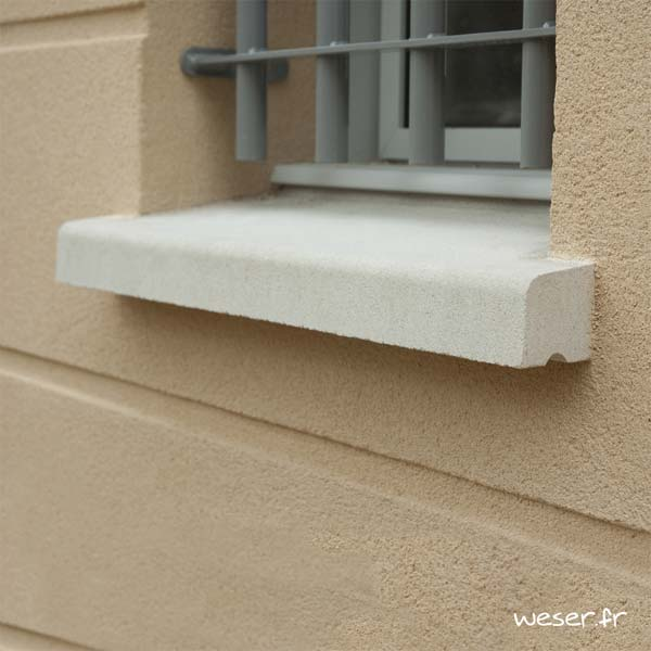 Appui de fenêtre nez arrondi largeur 35 cm Weser - en pierre reconstituée compactée - coloris Blanc Cassé