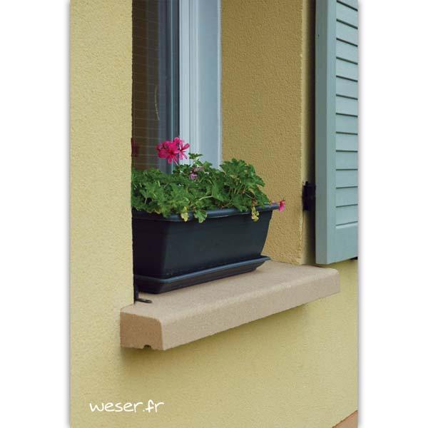 Appui de fenêtre nez arrondi largeur 35 cm Weser - en pierre reconstituée compactée - coloris Ton pierre