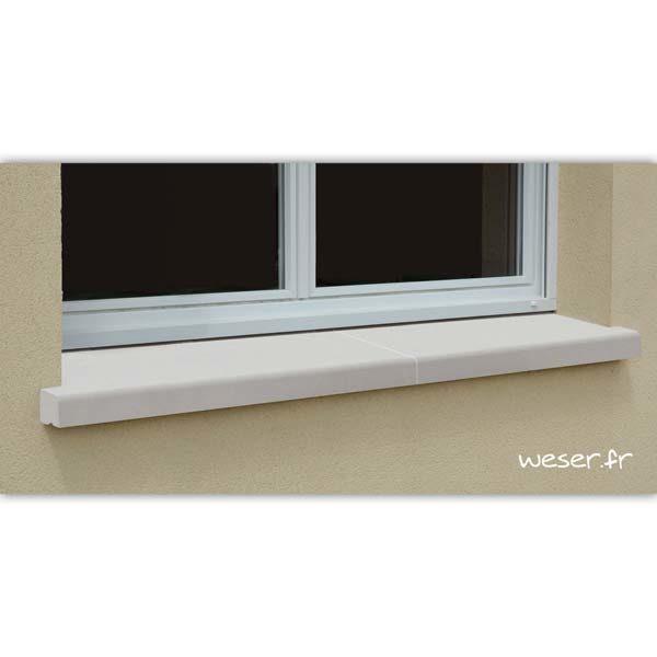 Appui de fenêtre nez arrondi en 2 éléments largeur 35 cm Weser - en pierre reconstituée compactée - coloris Blanc Cassé