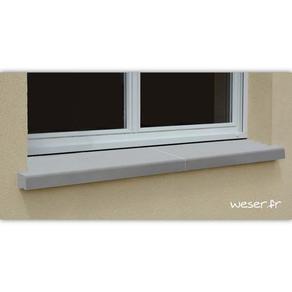 Appui de fenêtre nez arrondi en 2 éléments largeur 35 cm Weser - en pierre reconstituée compactée - coloris Gris