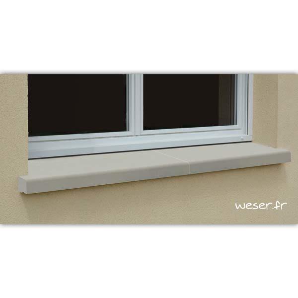 Appui de fenêtre nez arrondi en 2 éléments largeur 35 cm Weser - en pierre reconstituée compactée - coloris Ton pierre