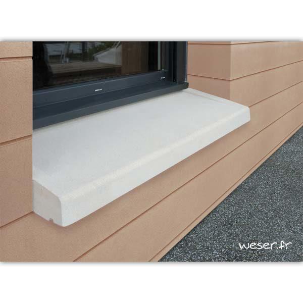 Appui de fenêtre à pose simplifiée largeur 35 cm Weser - en pierre reconstituée compressée - Coloris Blanc Cassé