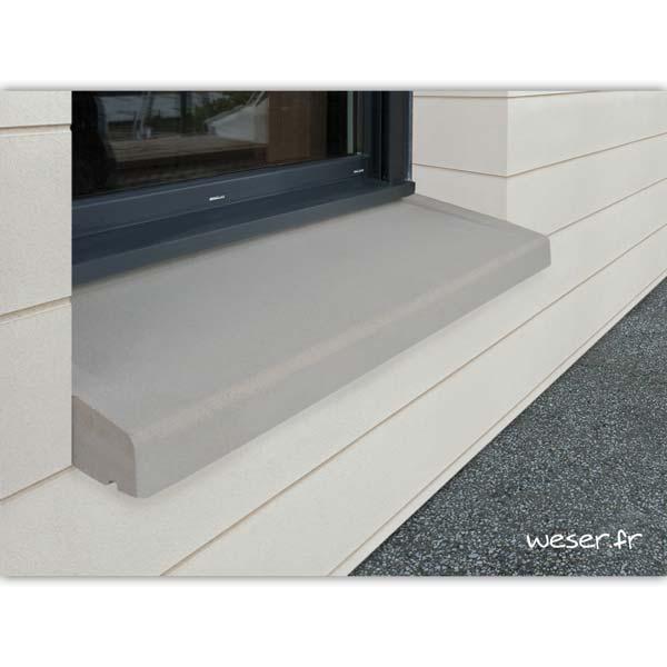 Appui de fenêtre à pose simplifiée largeur 35 cm Weser - en pierre reconstituée compressée - Coloris Gris