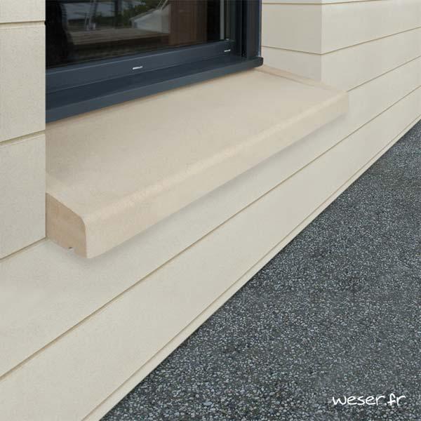 Appui de fenêtre à pose simplifiée largeur 35 cm Weser - en pierre reconstituée compressée - Coloris Ton pierre