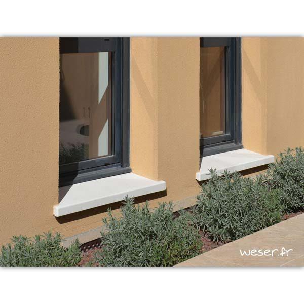 Appui de fenêtre TRADITION largeur 34 cm Weser - en pierre reconstituée coulée - Coloris Blanc Tradition