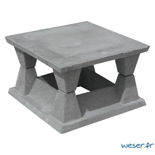 Aspirateur de cheminée en béton 20x20 cm Weser - Coloris Gris
