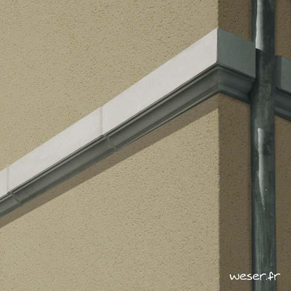 Bandeau à agrafer pour façade Weser - en pierre reconstituée compressée - Coloris Blanc Cassé