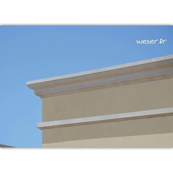 Bandeaux à agrafer, Corniches Doucine et Quard de rond pour façade Weser - en pierre reconstituée compressée - Coloris Blanc Cassé