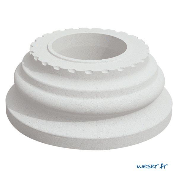 Base de colonne Cannelée diamètre 35 cm Weser - en pierre reconstituée compressée - Coloris Blanc Cassé
