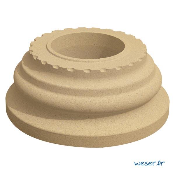 Base de colonne Cannelée diamètre 35 cm Weser - en pierre reconstituée compressée - Coloris Ton pierre