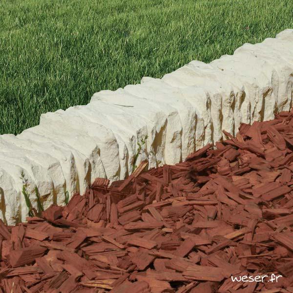 Bordure droite de jardin Florac Weser - en pierre reconstituée - Crème