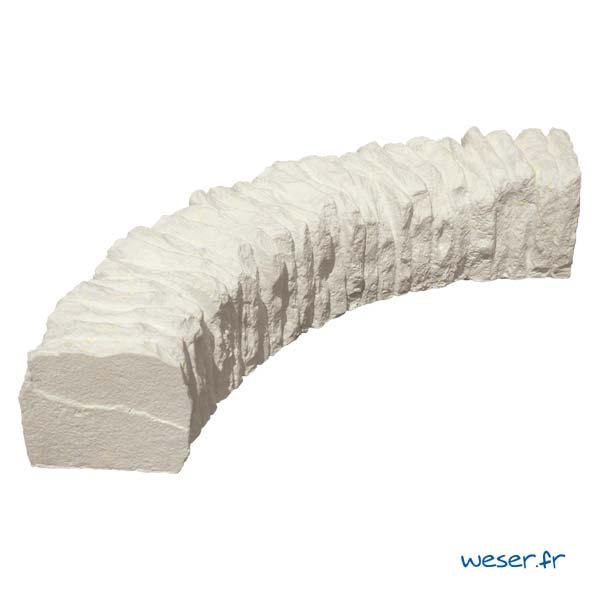 Bordure courbe de jardin Florac Weser - en pierre reconstituée - Crème