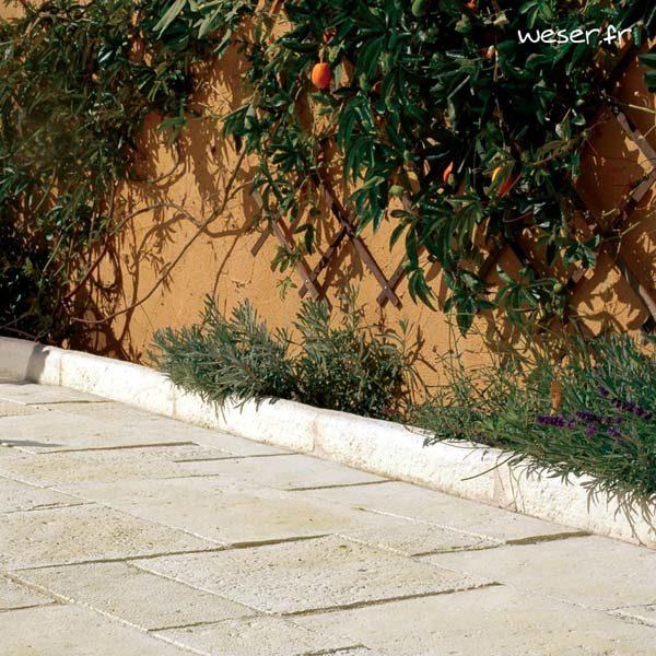 Bordure droite de jardin Richelieu Weser - en pierre reconstituée - Crème