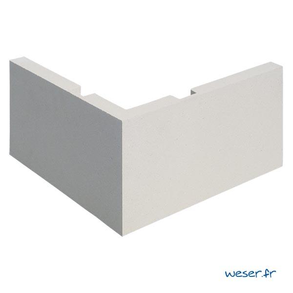 Chaîne d'angle de façade pour pose droite Weser - en pierre reconstituée compressée - Coloris Blanc Cassé