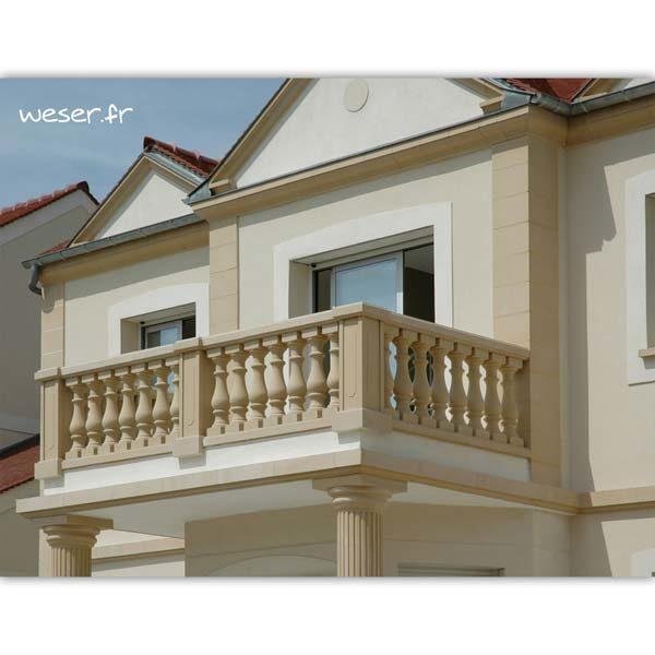 Bandeau à agrafer, Chaîne d'angle pour pose droite et Corniche Doucine pour façade Weser - en pierre reconstituée compressée - Coloris Ton pierre