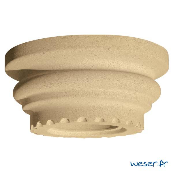 Chapiteau pour colonne Cannelée diamètre 26 cm Weser - en pierre reconstituée compressée - Coloris Ton pierre