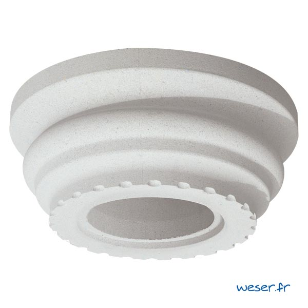 Chapiteau pour colonne Cannelée diamètre 35 cm Weser - en pierre reconstituée compressée - Coloris Blanc Cassé