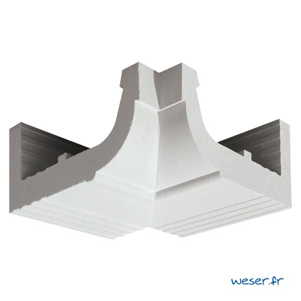 Corniche Quart de Rond angle intérieur pour façade Weser - en pierre reconstituée compactée - Coloris Blanc Cassé