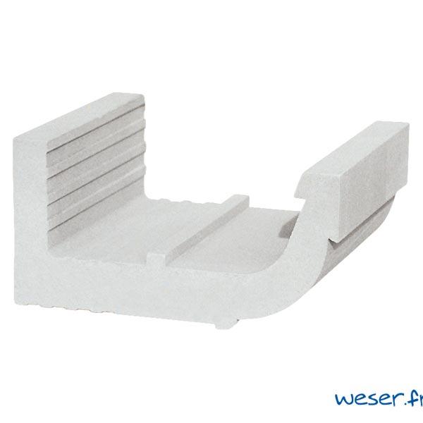 Corniche Quart de Rond pour façade Weser - en pierre reconstituée compactée - Coloris Blanc Cassé