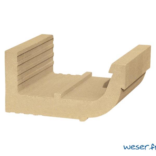 Corniche Quart de Rond pour façade Weser - en pierre reconstituée compactée - Coloris Ton pierre