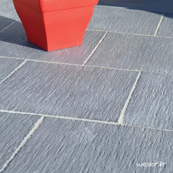 Dalle de terrasse ou piscine Auray Weser - Aspect schiste- en pierre reconstituée - Coloris Gris Anthracite