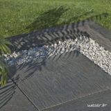 Bordure et Dalle de terrasse ou piscine Auray Weser - Aspect schiste- en pierre reconstituée - Coloris Gris Anthracite