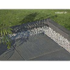 Bordures de jardin et dalles Auray Weser - Aspect schiste - Ardoise - Gris Anthracite