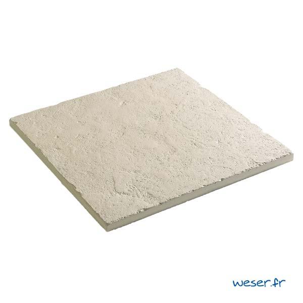Dalle de terrasse ou piscine Bergerac Weser épaisseur 2,2 cm - Aspect vieille pierre - en pierre reconstituée - Coloris Crème