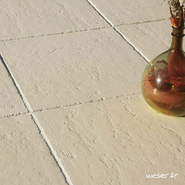 Dalle de terrasse ou piscine Bergerac Weser - Aspect vieille pierre - en pierre reconstituée - Coloris Crème