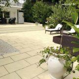 Dalle de terrasse ou de piscine Richelieu individuelle 40x60 cm Weser - en pierre reconstituée - Coloris Crème