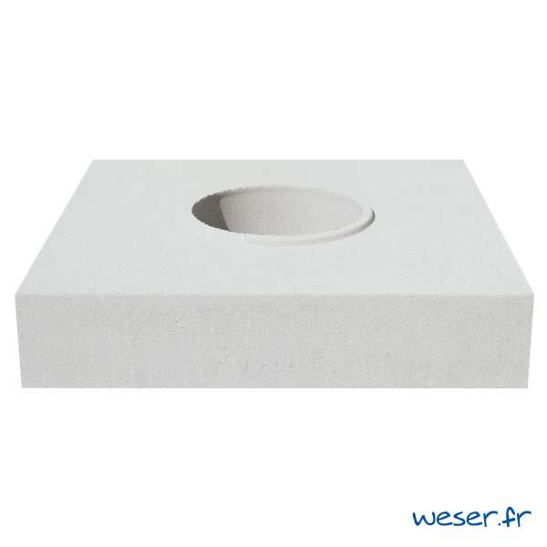 Embase pour colonne diamètre 26 cm Weser - en pierre reconstituée compactée - Coloris Blanc Cassé