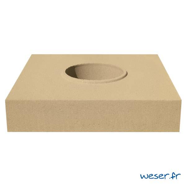 Embase pour colonne diamètre 26 cm Weser - en pierre reconstituée compactée - Coloris Ton pierre