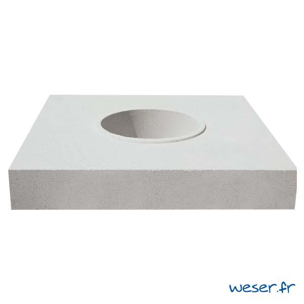 Embase pour colonne diamètre 35 cm Weser - en pierre reconstituée compactée - Coloris Blanc Cassé