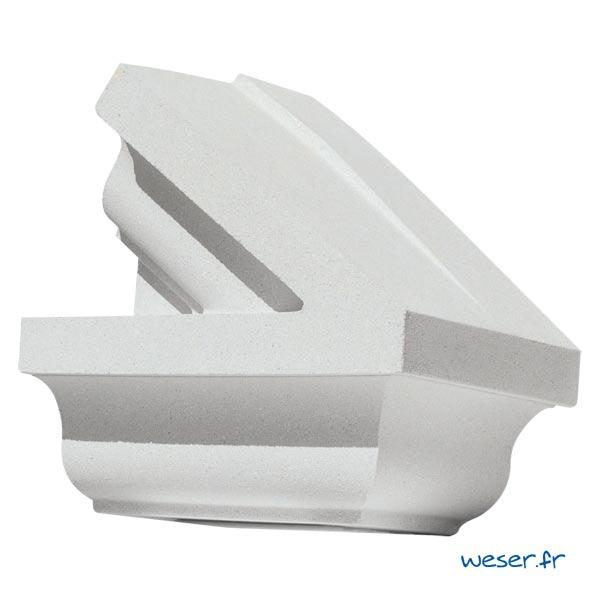 Extrémité droit de Fronton pour façade Weser - en pierre reconstituée compactée - Coloris Blanc Cassé