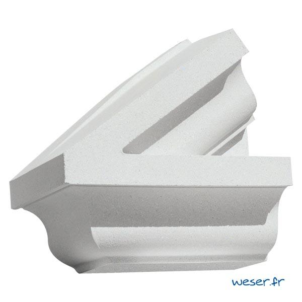 Extrémité gauche de Fronton pour façade Weser - en pierre reconstituée compactée - Coloris Blanc Cassé