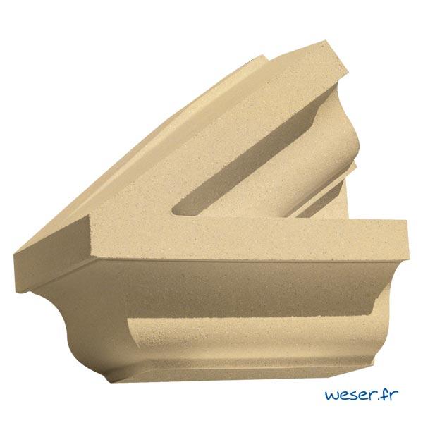 Extrémité gauche de Fronton pour façade Weser - en pierre reconstituée compactée - Coloris Ton pierre