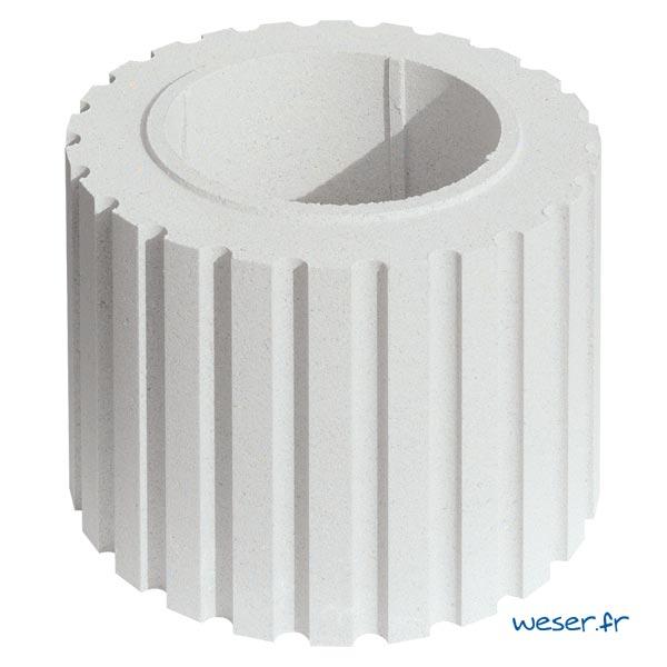 Fût pour colonne Cannelée diamètre 35 cm Weser - en pierre reconstituée compactée - Coloris Blanc Cassé