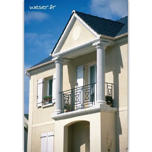 Colonne Cannelée diamètre 35 cm, Chaîne d'angle pose droite et corniche Doucine pour façade Weser - en pierre reconstituée compactée - Coloris Blanc Cassé