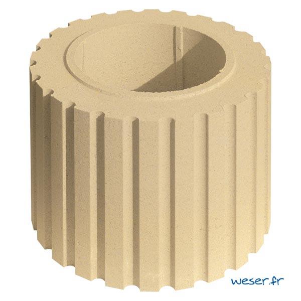 Fût pour colonne Cannelée diamètre 35 cm Weser - en pierre reconstituée compactée - Coloris Ton pierre