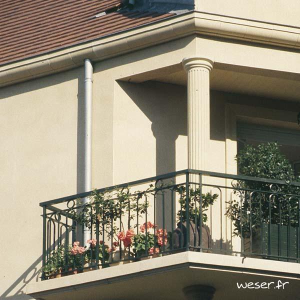 Colonne Cannelée diamètre 35 cm et corniche Cache-gouttière pour façade Weser - en pierre reconstituée compactée - Coloris Ton pierre