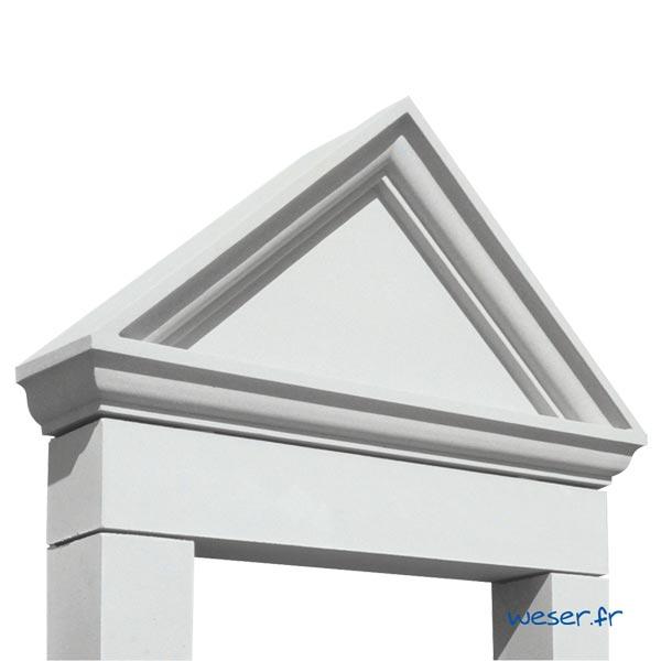 Lucarne de fenêtre à Fronton sans faux joint Weser - en pierre reconstituée compactée - Coloris Blanc Cassé