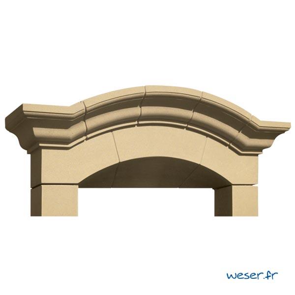 Lucarne de fenêtre à Chapeau de Gendarme avec faux joint Weser - en pierre reconstituée compactée - Coloris Ton pierre
