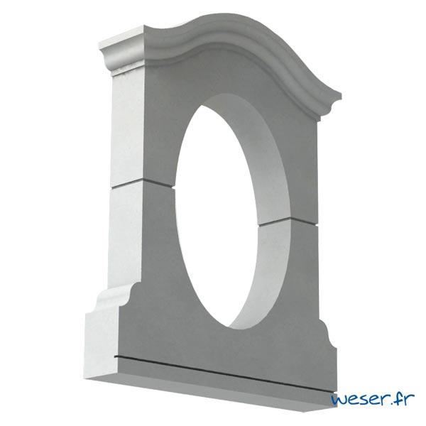 Lucarne Ovale Weser - en pierre reconstituée compactée - Coloris Blanc Cassé