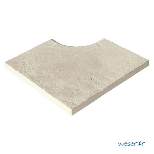 Margelle de piscine Bergerac Weser - Angle Rayon 15 cm - en pierre reconstituée - Coloris Crème
