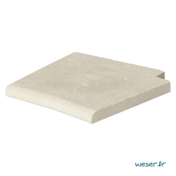 Margelle de piscine Bergerac Weser - Angle pour escalier roman droit - en pierre reconstituée - Coloris Crème