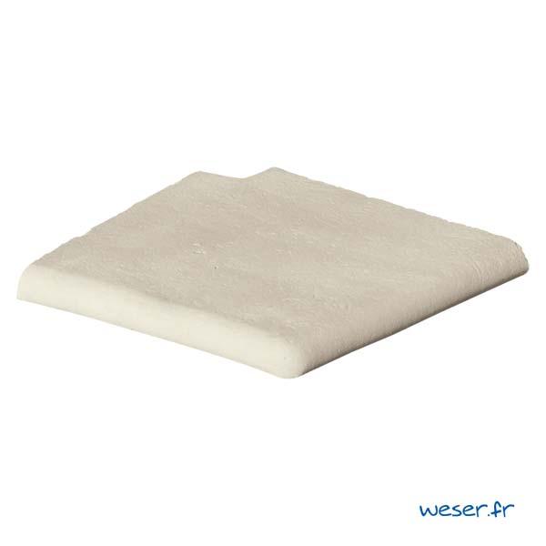 Margelle de piscine Bergerac Weser - Angle pour escalier roman gauche - en pierre reconstituée - Coloris Crème