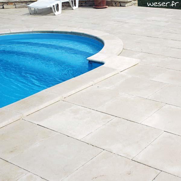 Dalle et Margelle de piscine Bergerac Weser - en pierre reconstituée - Coloris Crème