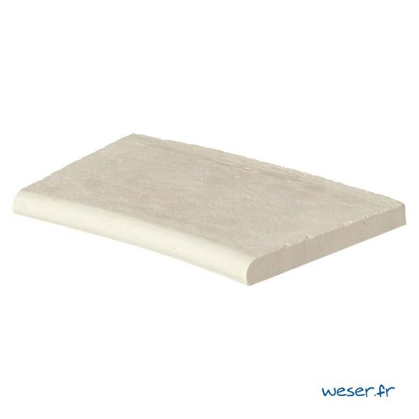 Margelle de piscine Bergerac Weser - Courbe rayon 150 cm - en pierre reconstituée - Coloris Crème